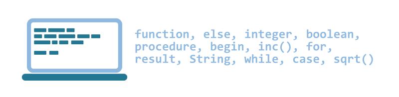 Illustration: Schlagwörter der Programmierung in Delphi