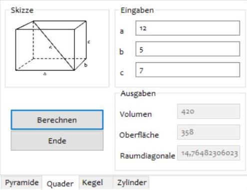 Screenshot: Programm zur Ermittlung der Seitenflächen, Kanten und des Volumens eines Quaders