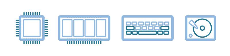 Illustration: Prozessor, Festplatte, Arbeitsspeicher und Tastatur