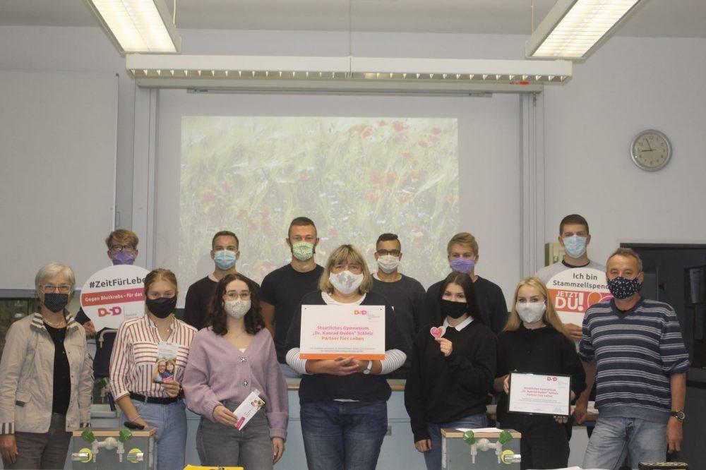 Wir wurden als offizielle Partnerschule der deutschen Stammzellenspenderdatei ausgezeichnet (Foto: Anna-Lina O.)